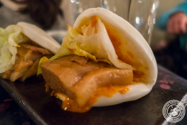 Pork belly buns at  Zutto, Japanese American Pub in Tribeca, NYC, New York