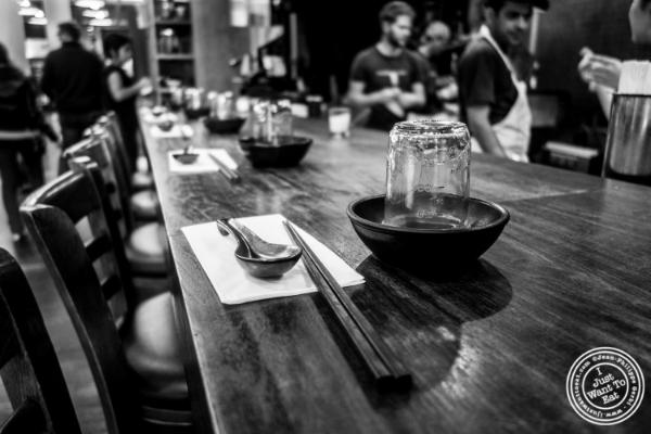 Bar at Mokbar, Korean ramen in Chelsea Market