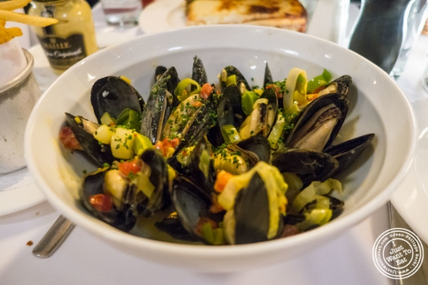 Moules frites at The Odeon in TriBeCa, New York, NY