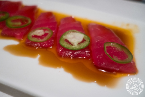 Jalapeño tuna sashimi at Mastro's Steakhouse in New York, NY