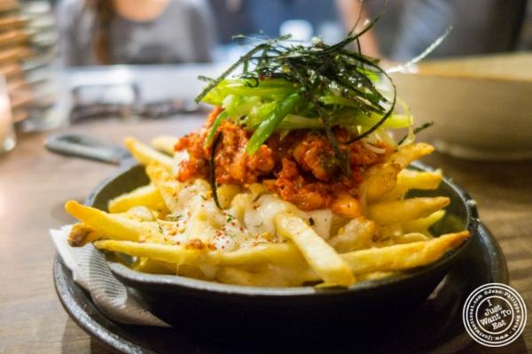 Disco fries at  Mokbar, Korean ramen in Chelsea Market
