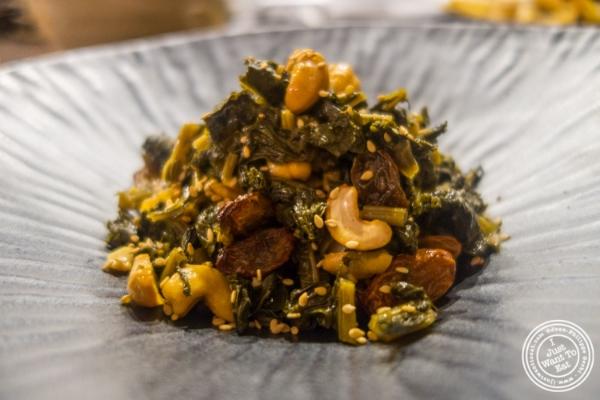 Kale salad at  Mokbar, Korean ramen in Chelsea Market