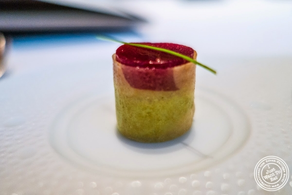 goat cheese and beet in phyllo at Le Bernardin in New York, NY