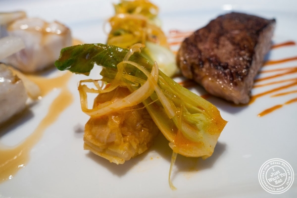 kimchi and Asian pear at Le Bernardin in New York, NY