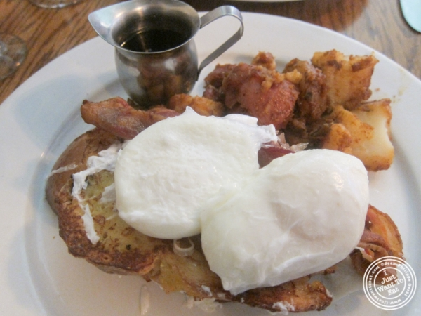 French toast and crispy bacon benedict  at The Dining Room at Anthony David's in Hoboken, NJ