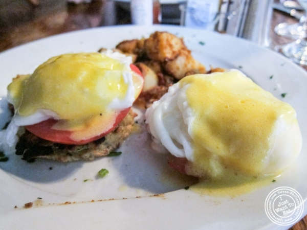 Potato pancake benedict at The Dining Room at Anthony David's in Hoboken, NJ