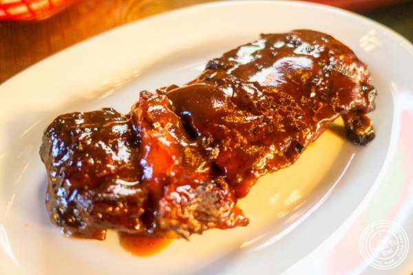 Baby back ribs at  The Smokin' Barrel in Hoboken, NJ
