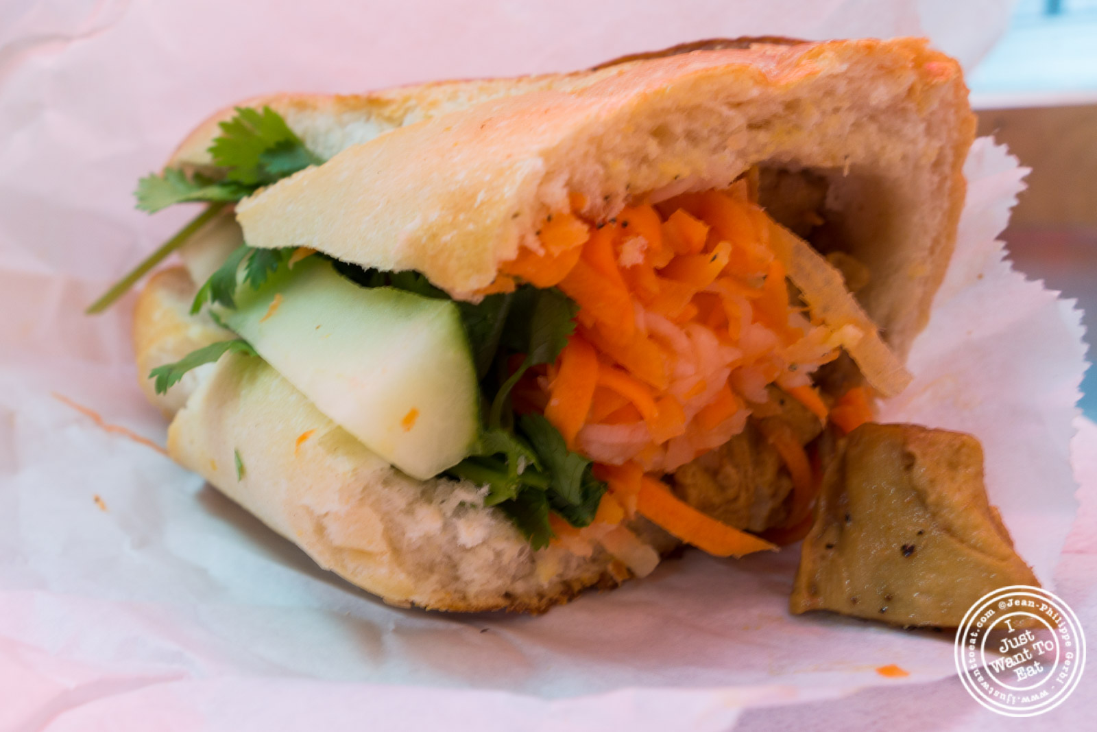 Vegan chicken sandwich at Saigon Vietnamese Sandwich Deli in New York, NY