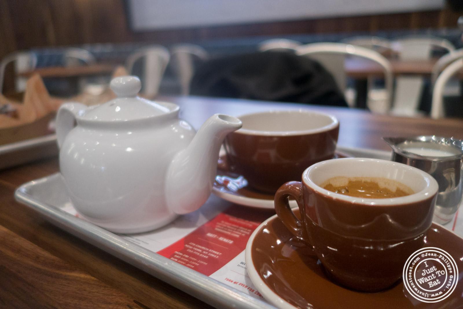 Espresso and tea atBaked, Bakery in TriBeca, New York, NY