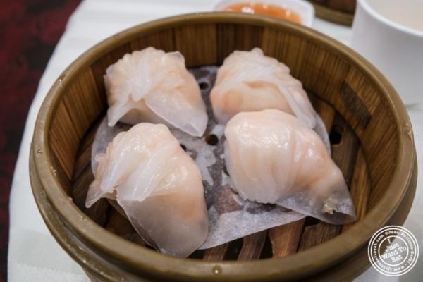 Har Gow or shrimp dumpling atJing Fong, Dim Sum Restaurant in Chinatown, New York, NY