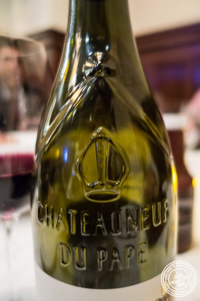 """Châteauneuf-du-Pape (""""The Pope's new castle"""") at  Benjamin Steakhouse in New York, NY"""