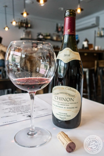 Domaine du Colombier Chinon 2010 at Frere de Lys, French restaurant on the Upper East Side, NY