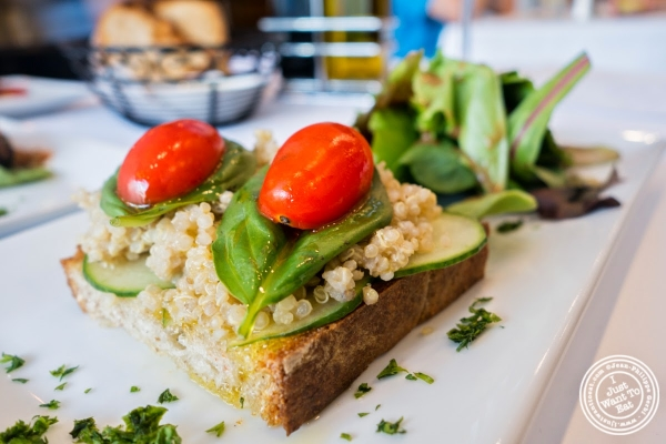 veggie and quinoa tartine at Frere de Lys, French restaurant on the Upper East Side, NY