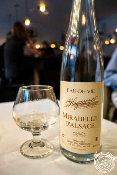 Eau de vie de mirabelle d'Alsace at Frere de Lys, French restaurant on the Upper East Side, NY