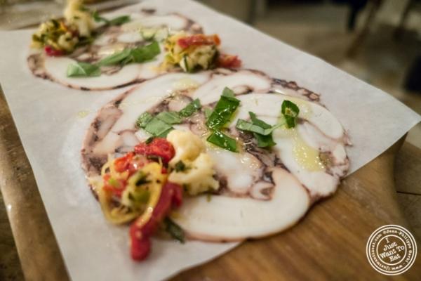 Octopus salume at  Rosemary's, Italian Restaurant in NYC, New York