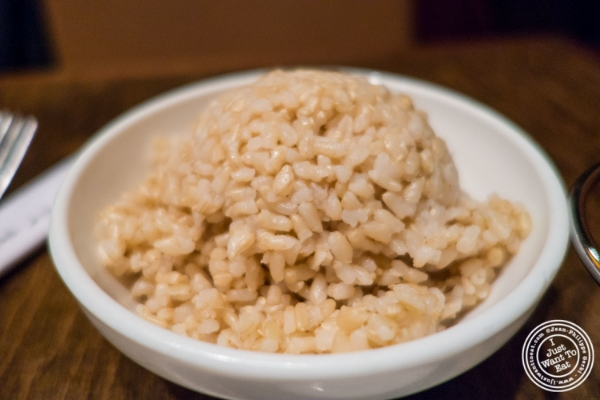 Brown rice at Saigon 48, Asian restaurant near Times Square, NYC, New York