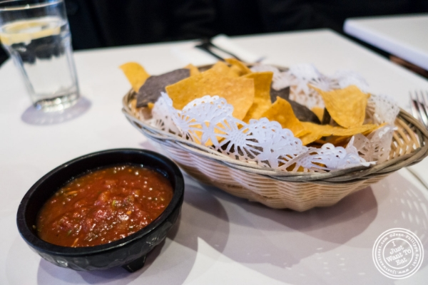 Salsa and tortilla chips at Sombrero, Mexican Restaurant near Times Square, NYC, New York