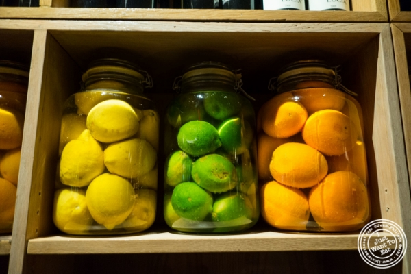 Preserved citrus at Petrarca Cucina e Vino, Italian restaurant in Tribeca, NYC, New York