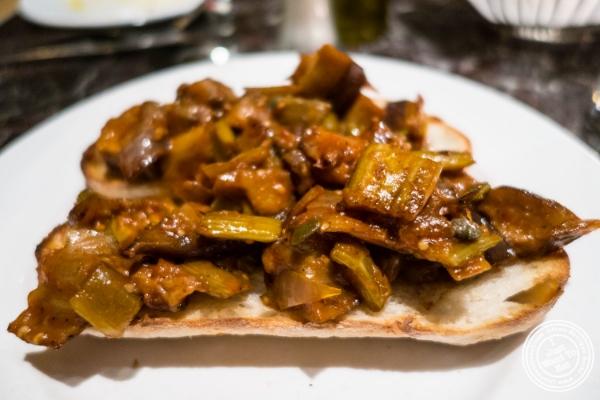 Eggplant capponata bruschetta atPetrarca Cucina e Vino, Italian restaurant in Tribeca, NYC, New York