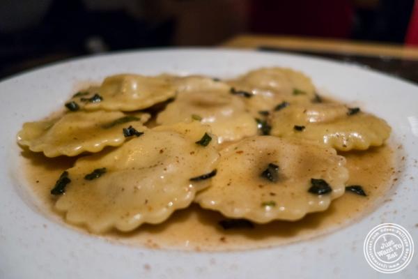 Butternut Squash ravioli atPetrarca Cucina e Vino, Italian restaurant in Tribeca, NYC, New York