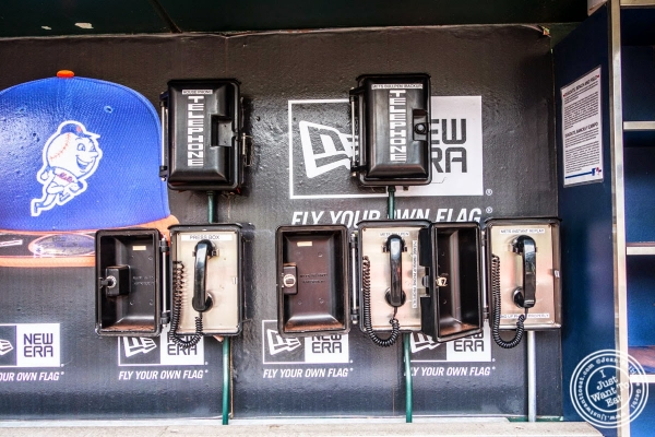 Phones in the dugout at Citi Field, home of the NY Mets