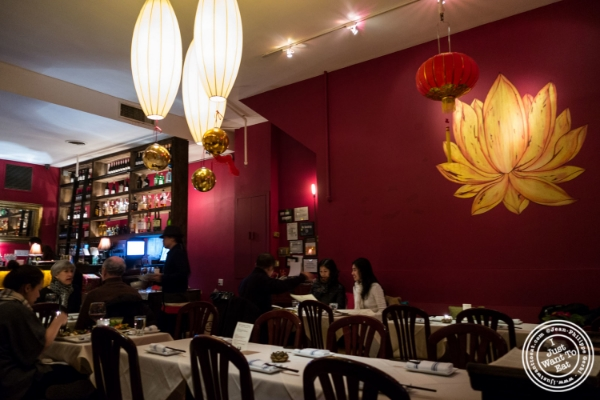 Dining room at Lotus Blue, Chinese restaurant in Tribeca, NYC, New York