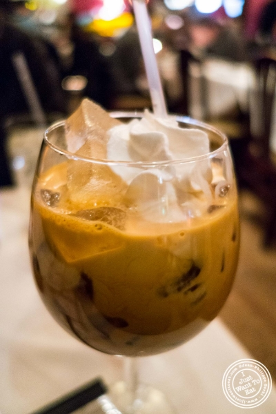 Thai iced tea at Lotus Blue, Chinese restaurant in Tribeca, NYC, New York