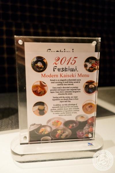 Kaseiki menu atFushimi in Williamsburg, Brooklyn, NY