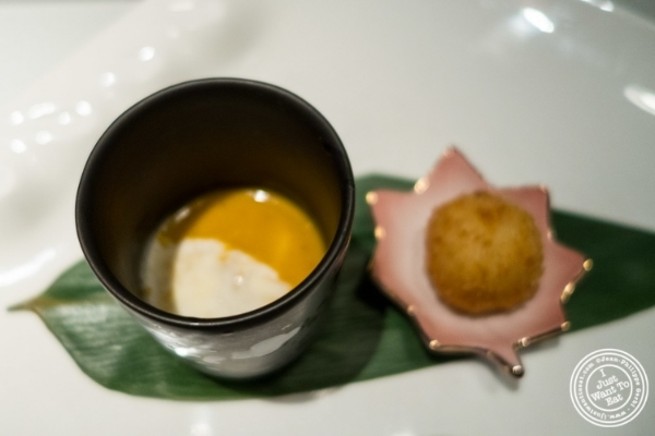 Seafood bisque and risotto ball at  Fushimi in Williamsburg, Brooklyn, NY