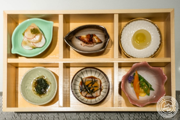 Six assorted appetizers at  Fushimi in Williamsburg, Brooklyn, NY