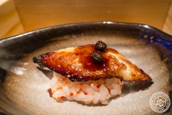 Sushi rice and eel at  Fushimi in Williamsburg, Brooklyn, NY