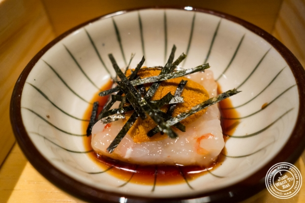 Botan ebi (shrimp) tartare with ginger, uni (sea urchin) and dashi soy atFushimi in Williamsburg, Brooklyn, NY