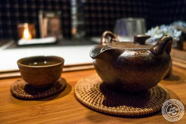 Green tea with roasted brown rice    at Fushimi in Williamsburg, Brooklyn, NY