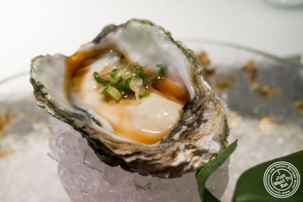 Kumamoto oyster with ponzu  at Fushimi in Williamsburg, Brooklyn, NY