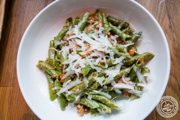 Garganelli verde with lamb bolognese at  L'Apicio, Italian-inspired restaurant in Greenwich Village