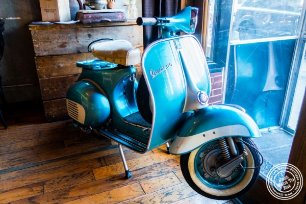 Scooter at Da Mikele by Luzzo's in Tribeca, NYC, New York
