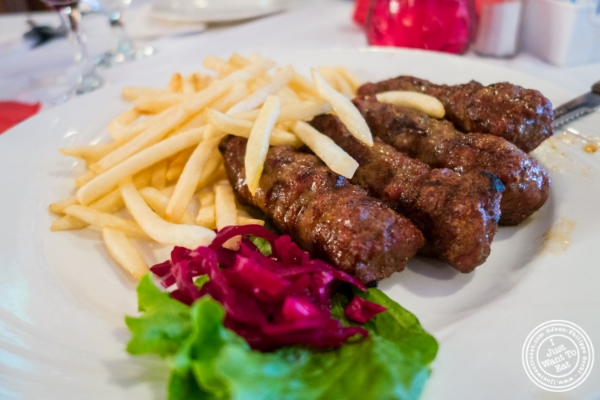 Romanian sausages or Mititei with French fries at Bucharest, Romanian restaurant in Sunnyside, Queens