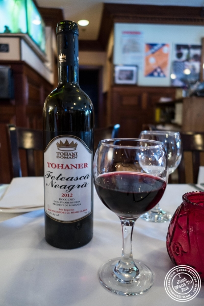 Romanian wine, a Feteasc ă Neagră from 2012  at   Bucharest, Romanian restaurant in Sunnyside, Queens