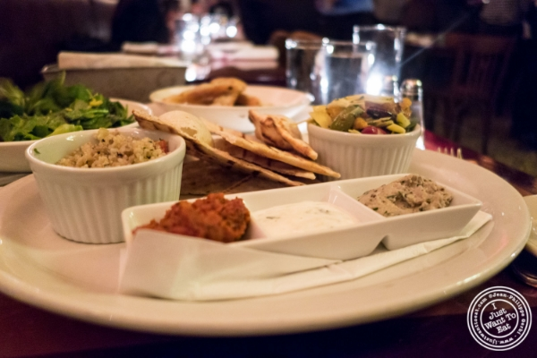 Mediterranean mezze platter atCafé Noir in TriBeCa, NYC, New York