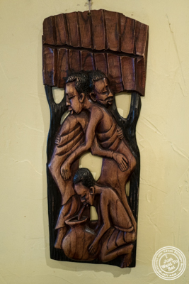 African wood sculpture at   Ponty Bistro in NYC, New York