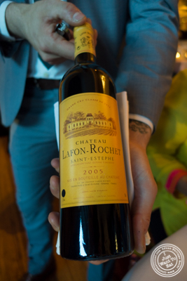 Saint-Estephe, Chateau Lafon-Rochet, Grand cru classe 2005 atBagatelle  in the Meatpacking District, NYC, New York