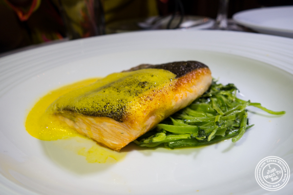 Filet de saumon sauvage grillé  or grilled wildsalmonatBagatellein the Meatpacking District, NYC, New York