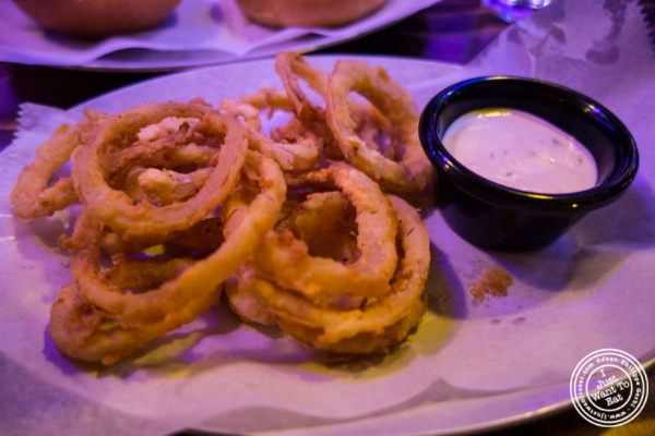 Onion rings with ranch dressing at Black Iron Burger in Chelsea, NYC, New York