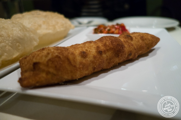 Lamb egg roll at   Haldi, Indian restaurant in Curry Hill, NYC, New York