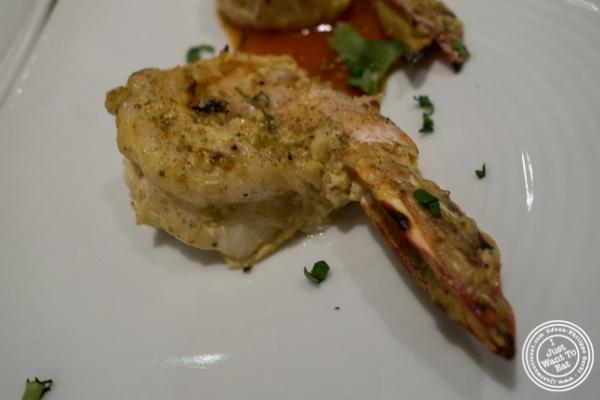 Shrimp ajwai kebab at  Haldi, Indian restaurant in Curry Hill, NYC, New York