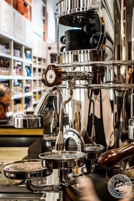 Espresso machine at Caffe Vergnano,  Eataly in NYC, Ne  w York