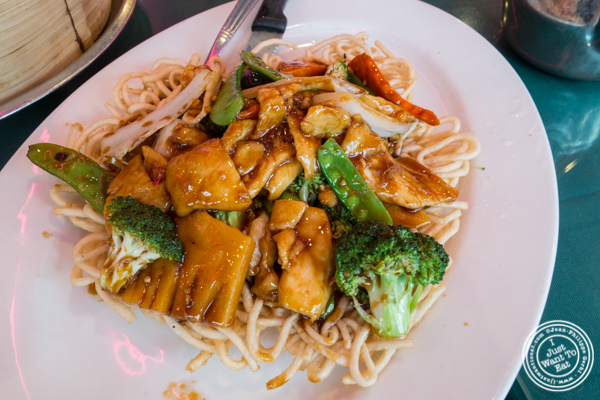 Chicken pan fried noodles at   Joe's Ginger in Chinatown, NYC, New York
