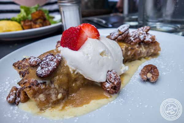 Oven baked French toast at   Tiny's And The Bar Upstairs in TriBeCa, NYC, New York