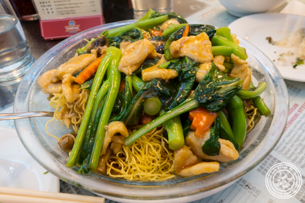 chicken pan fried noodles at   The Great New York Noodlet  own in Chinatown