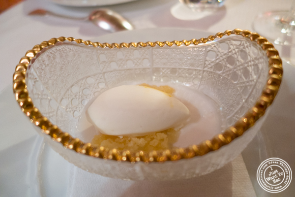 Coconut soup with amaretto ice cream atBouley in TriBeCa, NYC, New York